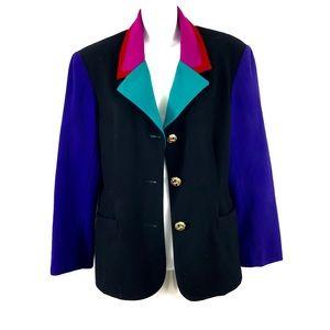 Wool vtg 90s jacket colorblock gem stone pocket